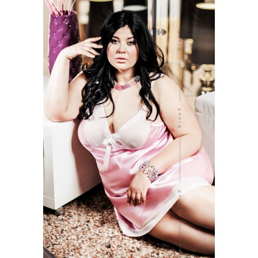 plus size-019 Elise Satin Chemise In Blush Pink S-6XL Chemises-Nine X